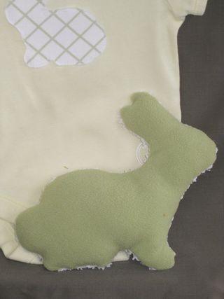 Onesie green bunny back
